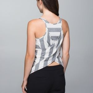 NWT Vita Racer Tank Stripe Heathered Grey White 4